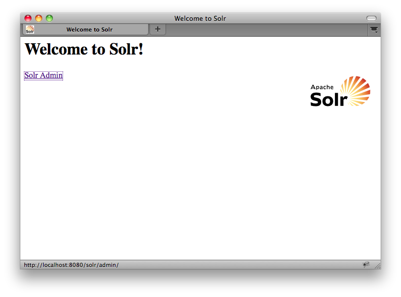 SOLR welcome page